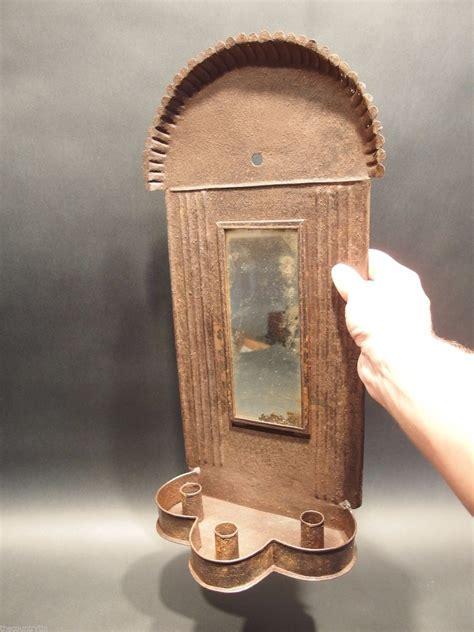 Tin Candle Sconces - large primitive antique iron tin mirror lighting