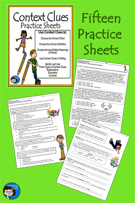 worksheet context clues worksheets middle school carlos