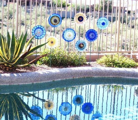 sale garden art glass plate flower decor upcycled glassware