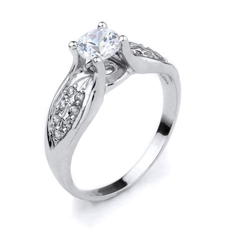 10k white gold clear cubic zirconia 1 50ct engagement ring made in usa ebay