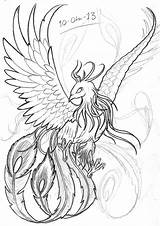 Phoenix Japanese Tattoo Sketch Drawing Bird Drawings Coloring Tattoos Realistic Template sketch template