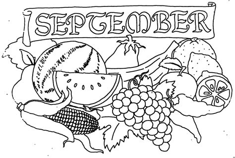 September Mit Obst Ausmalbild & Malvorlage (monatsbilder