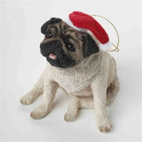 sandicast pug dog christmas ornament with hat new in box