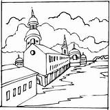 Coloring Town Colorir Desenhos Igrejas Imprimir Designlooter Igreja sketch template
