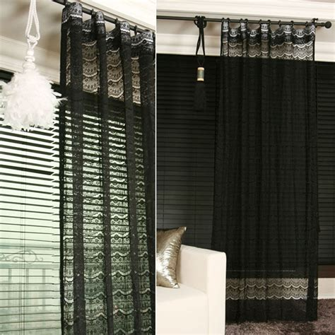 Lace Drapery Panels by Handmade Black Lace Sheer Curtain Decorative Voile Net