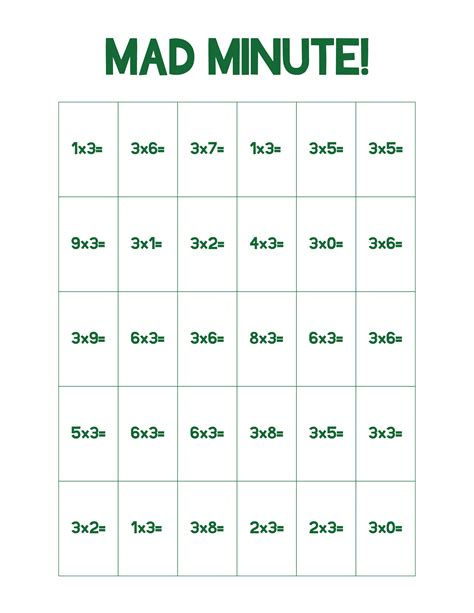 multiplication and division mad minute worksheets