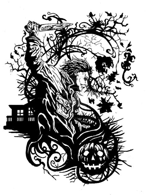 Zombie Pumpkin Stencil by Michael Myers Tattoo Design By Samuel Hain On Deviantart