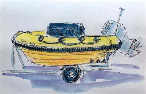 Yellow Rib Boat by Angela Batchelor Artist Paintings In Acrylic