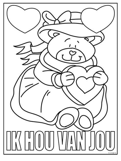 Kleurplaat Moederdag Teddybeer by Kleurplaat Hart Valentijn Moederdag Vaderdag