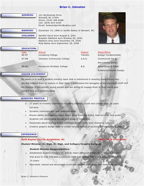 Ministry Resume Template by Brian Johnston Ministry Resume
