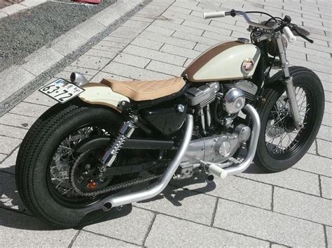 Tan & White Evo Sportster Swingarm Custom With Black Rims