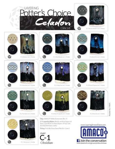 obsidian color chart c celadon high fire glazes glazes underglazes