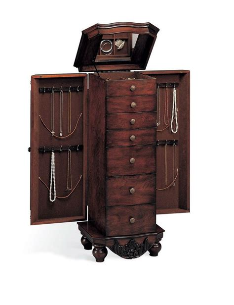 antique cherry finish jewelry armoire lingerie chest