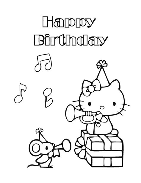 kitty happy birthday coloring page   coloring