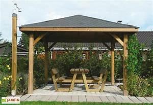 Tonnelle En Bambou : tonnelle kiosque en bois autoclave 347x347cm solid ~ Premium-room.com Idées de Décoration