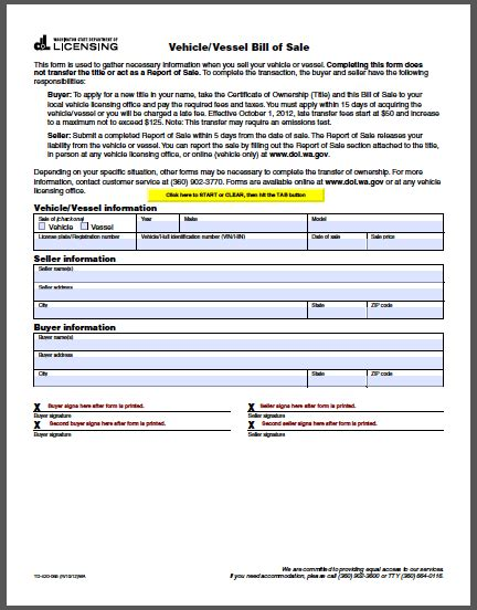 vehicle bill of sale template fillable pdf washington vehicle bill of sale form free fillable pdf forms
