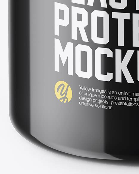The biggest source of free photorealistic bottle mockups online! Glossy Plastic Protein Jar Mockup (High-Angle Shot) in Jar ...