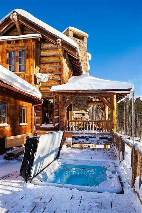 log cabins with tub cabins exterior tub winter snow