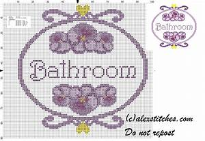 bathroom double pansy cross stitch patern free cross With bathroom cross stitch patterns free
