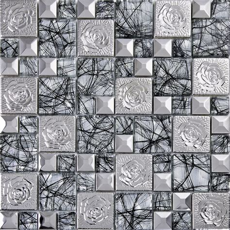 silver  stainless steel mosaic tile glass art mirror