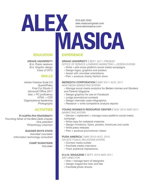 Exle Of Graphic Designer Cv graphic design resume resume tips