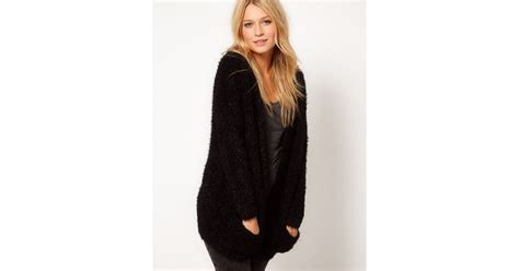 Asos Collection Fluffy Oversized Cardigan In Black