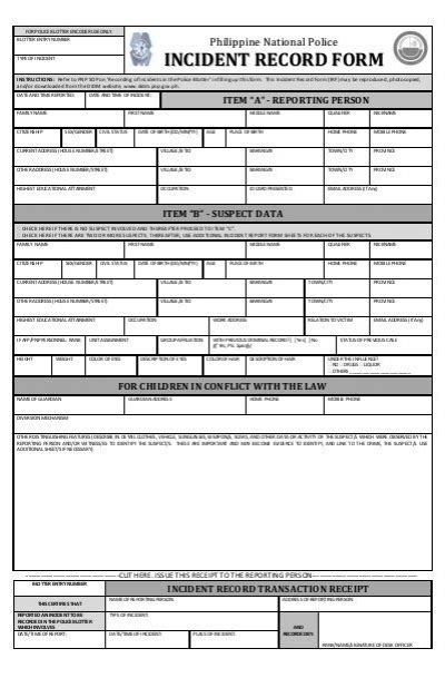 Incident Record Form  Didm  Philippine National Police