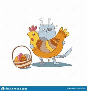 Cute Big Fat White Hen And Chicken Vector Illustration