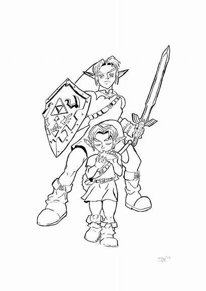 Zelda Coloring Legend Pages Ocarina Printable Link