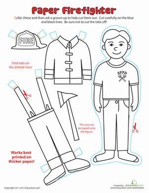 paper dolls fireman worksheet education 219 | paper dolls fireman people paper