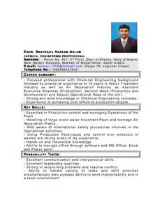 resume chemical engineering objective my cv as chemical engineer in pdf