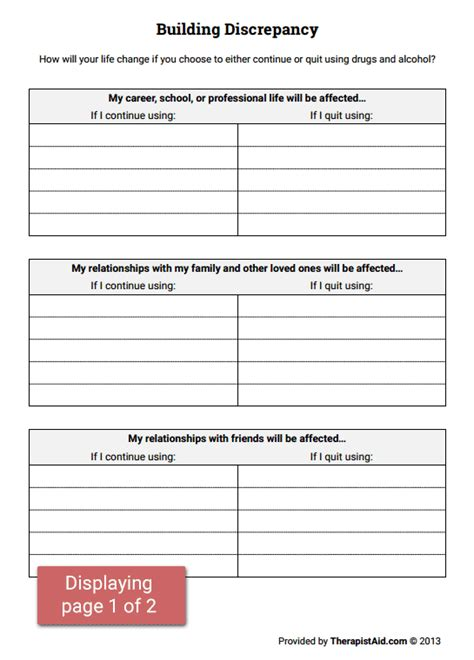 building discrepancy worksheet therapist aid