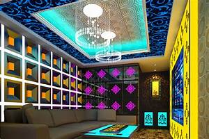 Design chandelier ceiling and walls at KTV room