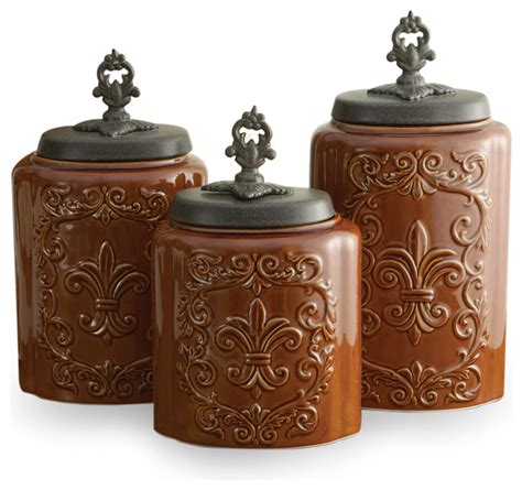 Brown Canister Sets Kitchen by Antique Canisters Set Of 3 Brown Contemporary