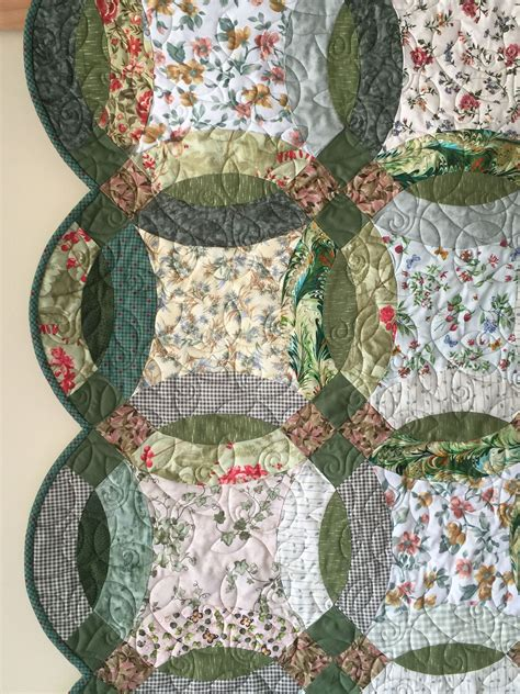 double wedding ring quilt in greens and florals quilts for sale