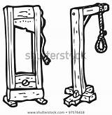 Noose Cartoon Guillotine Hangman Shutterstock Hangmans Illustration Coloring Template Sketch sketch template