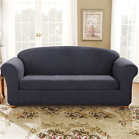 Blue Slipcovers For Sofas by Sure Fit 174 Stretch Suede Bench Seat Sofa Slipcover In