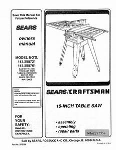 Craftsman 113 298761 Specifications