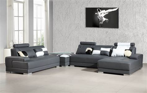 Phantom Contemporary Grey Leather Sectional Sofa W/ Ottoman