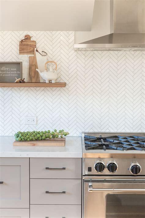 kitchen tile backsplash design marble herringbone backsplash kitchen floating shelves