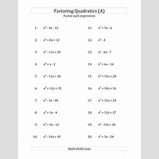 Factoring Quadratic Expressions With 'a' Coefficients Of 1 (a