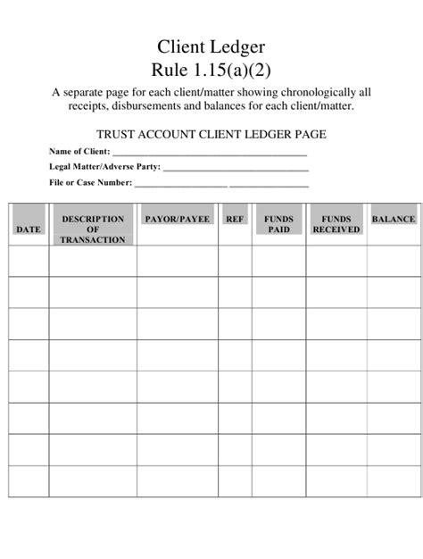 trust account client ledger page template