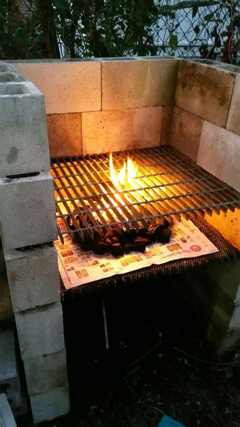 create  bbq grill  cinder blocks outdoor kitchen