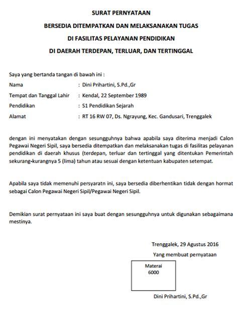 Contoh Surat Pernyataan Bersedia Ditempatkan Dimana Saja by Surat Pernyataan Bersedia Ditempatkan Tugas Dimana Saja