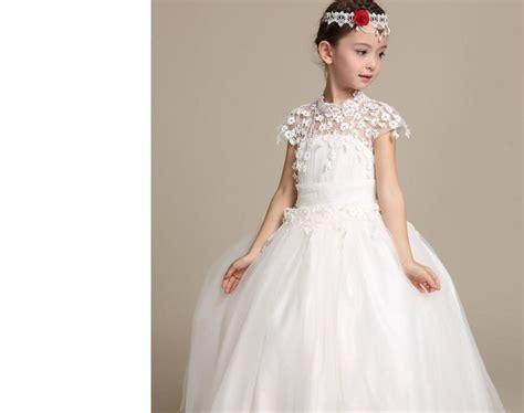 Wedding Dresses For Girls : Elegant Long Wedding Dress For Flower Girls Solid White