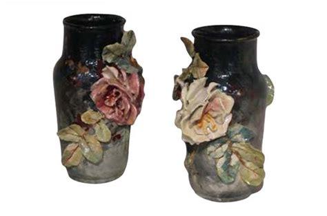 Pair Of Barbotine Vases Circa 1880 Mizz