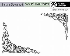 Viking Knotwork Dragon Corner Design Vector Clipart Public