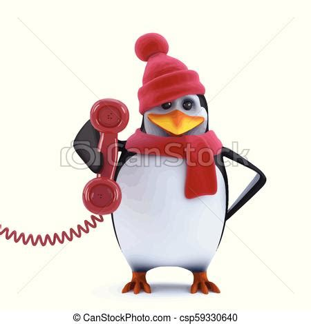 When christmas is right around the corner, you decorate everywhere. 3d christmas penguin answers the phone. 3d render of a cute penguin dressed in wool hat and ...