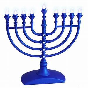 Hanukkah Gift, Battery Operated Hanukkah Menorah In Blue