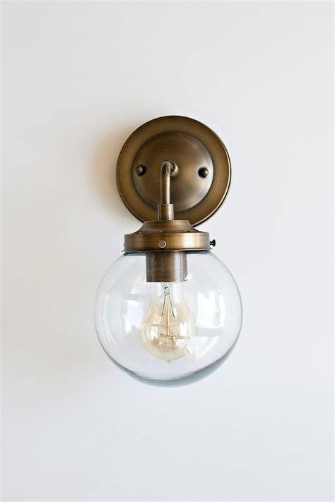 Glass Shades For Wall Sconces - wall sconce with clear glass globe shadesale use code